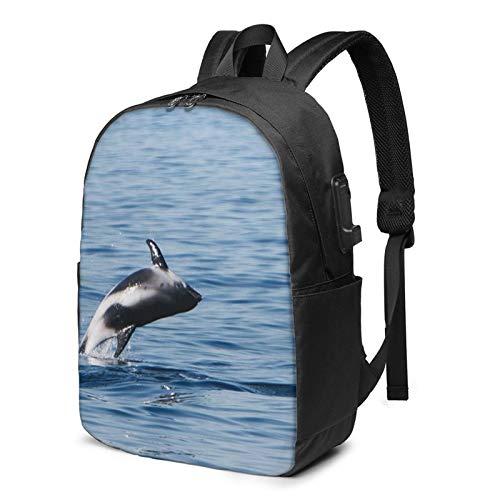 Laptop Rucksack Business Rucksack für 17 Zoll Laptop, Island Schnabel Delphin Schulrucksack Mit USB Port für Arbeit Wandern Reisen Camping, für Herren Damen