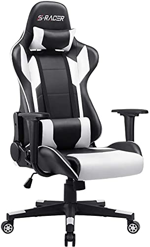 Furniwell Gaming Chair Office Chair Racing Desk Chair Adjustable Swivel High Back PU Leather Executive Ergonomic Computer Chair with Headrest and Lumbar Support(White)