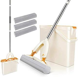 Mastertop - Juego de fregona plana y cubo para todo tipo de suelos, de goma, con cubo escurridor y 3 cabezales de esponja de PVA súper absorbentes