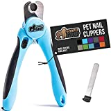 Gorilla Grip Professional Pet Nail Clippers and File, Stainless Steel, Safety Guard, Comfort Handle, Dog and Cat Trimmer for Claw Quick, Pets, Dogs and Cats Home Grooming Cutter Clipper Tool, Blue