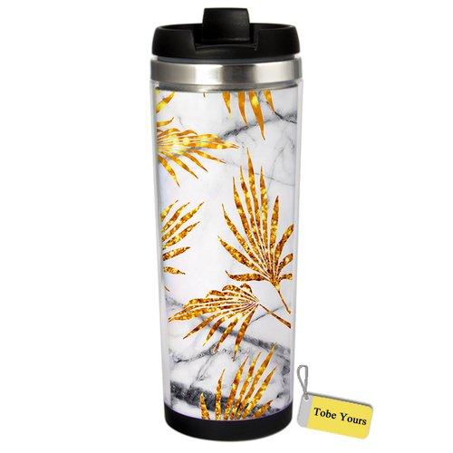 Best Gift - Marble Design Gold leaves Stainless Steel Travel Mug Vacuum Cup Bottle 13 OZ Tumbler
