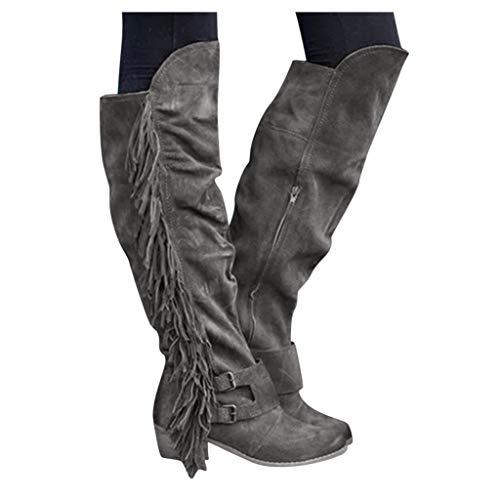 Dasongff Damen Kniestiefel Fransen Cowboy-Stiefel Fransen Klassischer Halbhohe Stiefel Mit Blockabsatz Vintage Spitz Stiefel Wildleder Kniehohe Booties