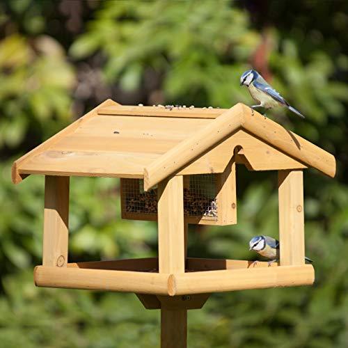 Relaxdays Vogelhaus mit Ständer, Aus Holz, Unbehandelt, Stehend, Vogelfutterhaus Bausatz, HBT: 117 x 50 x 50 cm, braun - 3