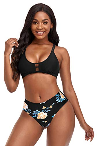 SHEKINI Tweedelige bikini voor dames, U-hals, dubbele bandjes, top, buikweg bloemenpatroon, bikinibroek, cross, blote rug, grote maat strandbikini