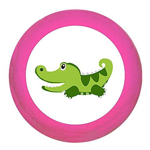 """Schrankgriff""""Krokodil"""" pink Holz Buche Kinder Kinderzimmer 1 Stück wilde Tiere Zootiere Dschungeltiere Traum Kind"""