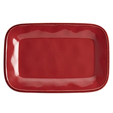 Rachael Ray Cucina Dinnerware Stoneware Rectangular Platter, 8-Inch by 12-Inch, Cranberry Red