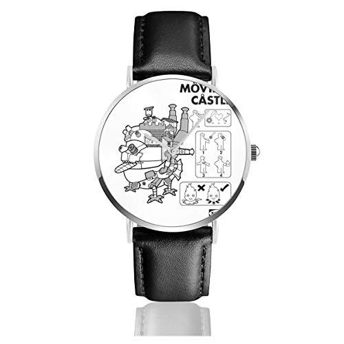 Unisex Business Casual Studio Ghibli Ikea Howls Moving Castle Uhren Quarzuhr Leder Schwarz Armband für Männer Frauen Young Collection Geschenk