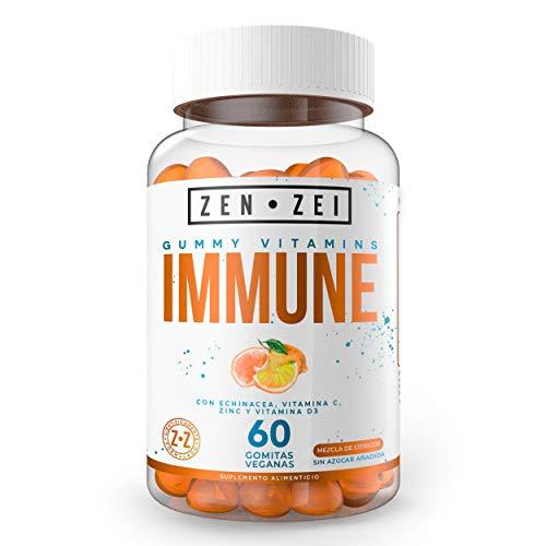 ZZ   IMMUNE SUPPORT   60 Gomitas 100% Veganas — Para Niños y Adultos — Formuladas con Echinacea, Vitamina C, Zinc y Vitamina D3   MENOS de 5 Kcal por Gomita   Calidad Premium