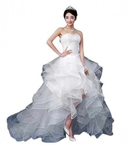 Generic Damen Sweetheart Hi-Lo Brautkleider Paspelierung Layered Rüschen Hochzeitskleider Gr. US 6/UK 10, elfenbeinfarben