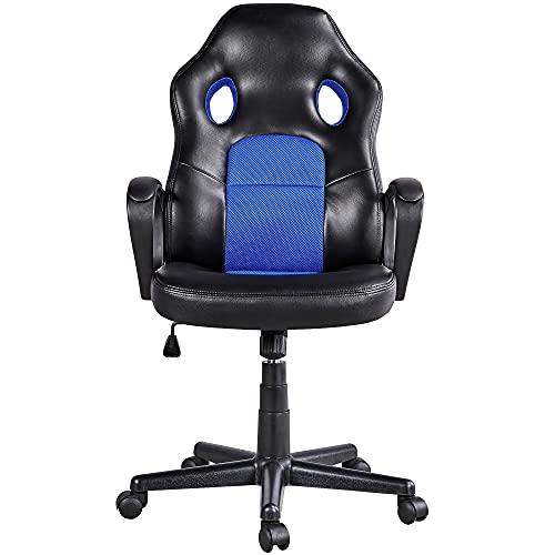 Yaheetech Silla Escritorio Oficina Silla Gaming Ergonómica Giratoria Trabajo Soporte Lumbar Piel Sintética Multi Color Azul