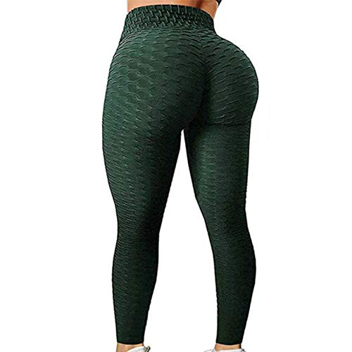 TIK Tok Butt Lifting Leggings, Women Honeycomb Anti Cellulite Waffle Leggings, Seamless High Waist Yoga Pants Bubble Textured Workout Running Tights (Green, L)