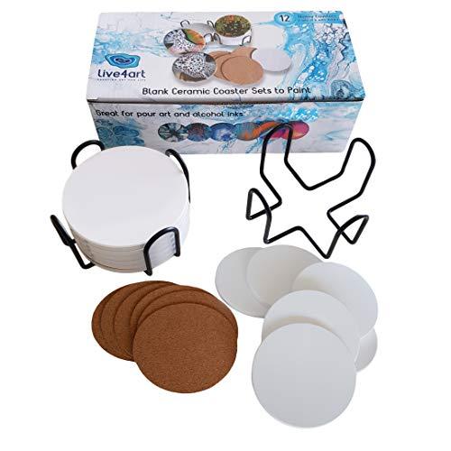 16PCS Square Unglazed Ceramic Tiles for Crafts Coasters with 20 PCS 2mm Self Adhesive Cork Squares /& 2PCS 4.5 Inch Premium Black Iron Metal Coaster Holder,White Tiles 4x4 for Crafts Ceramic
