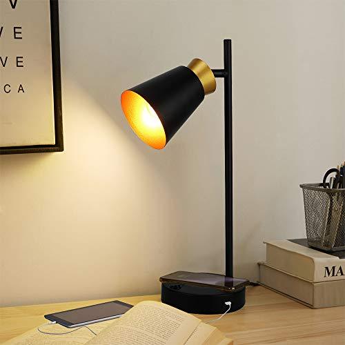 Depuley LED Tischlampe Schwarz mit Gold, Tischleuchte vintage Drehbar, Nachttischlampe USB Anschluss, 10W Drahtlose Schnellladung, 1.6M Kabel, Schreibtischlampe retro für Studenten Lesen Arbeiten