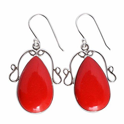 Precioso color rojo coral piedra preciosa 925 sólida plata esterlina pendiente colgante para niñas FSJ-1007