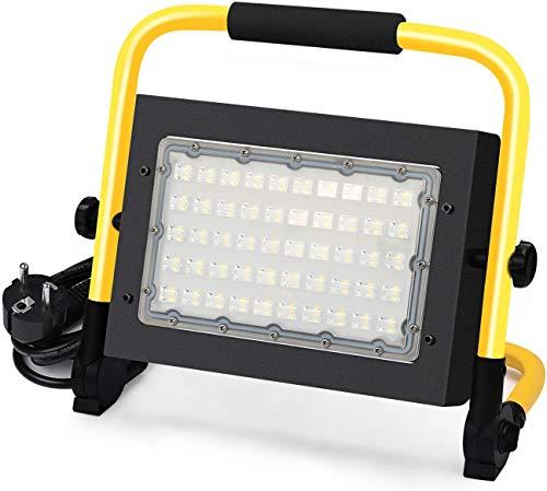 50W LED Strahler – LED Baustrahler Flutlicht Strahler tragbar 5000 Lumen IP65 Wasserdicht Fluter mit 5M Netzkabel, 6000K Tageslichtweiß Werkstattlampe Strahler