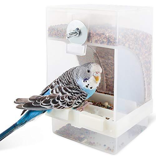 Comedero transparente para pájaros, comedero automático para pájaros, estación de alimentación para pájaros, se puede colgar, 16 x 10 x 9,5 cm, gran capacidad.