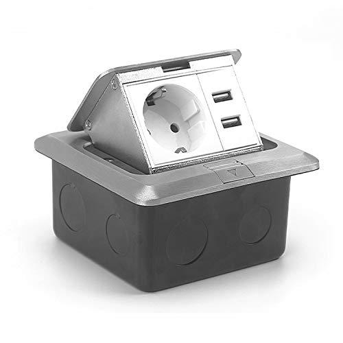FUNEY Prellen - Enchufe de suelo con 2 puertos USB, enchufe de pared retráctil para mesa, mesa de trabajo, restaurante o cocina