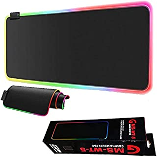 GMS WT-5 RGB Gaming Mouse Pad 80x30cm Extended Stitched Edges - 12 Lighting Modes - Braided Cable - Waterproof - Anti-Slip...