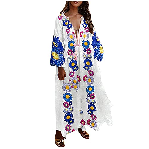 SoonerQuicker Zomerjurk voor dames, lang, elegant, boho, zakelijke jurk, strandjurk, cocktailjurk, casual jurk, ademende vrijetijdsjurk, partyjurk, hemelsblauw, 3XL