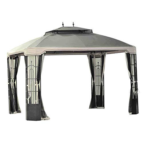 Original Replacement Canopy for Window Bay Gazebo (10X12 Ft) L-GZ120PST Sold at BigLots, Brown - Sunjoy 110109169