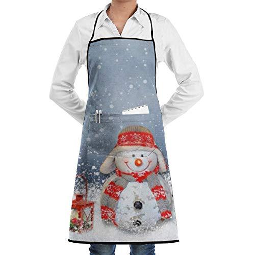DayToy Schürze Kochschürze Küchenschürze Grillschürze Schneemann mit Mütze und SchalSchürze zum Backen Garten Restaurant Grill mit 2 Taschen 20,5 x 28,4 Zoll