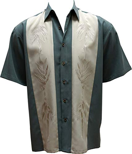 대나무 케이 남자 짧은 소매 하와이 캠프 셔츠에 콘트라스트 삽입 패널
