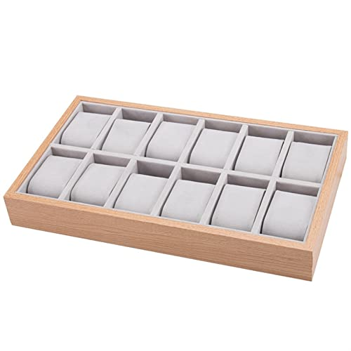 HUANHUAN Huan Store Pantalla de la Caja de la Caja de la Caja de la Caja de Reloj de Madera con Almohadas de Cuero Suave para Hombres Las joyeros de Las Mujeres Muestran 12 Ranuras