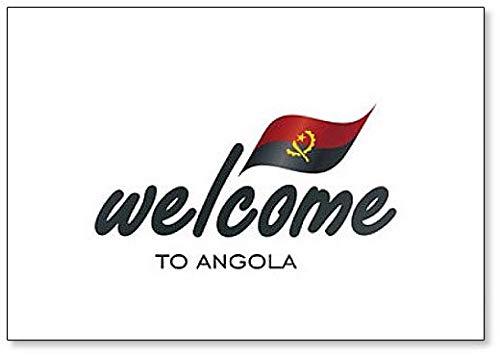 Kühlschrankmagnet, Motiv: Welcome to Angola mit Flagge