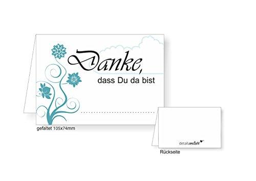 #detailverliebt 40 Tischkarten I dv_073 I DIN A7 I Platz-Karten Namens-Kärtchen Sitzplatz-Karten türkis Aufsteller quer zum Beschriften für Geburtstag Hochzeit Taufe