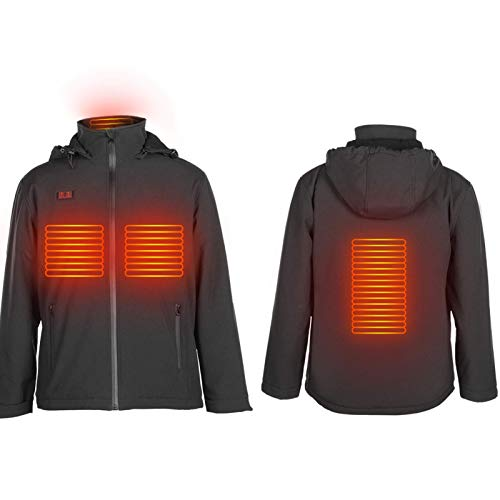 Doact Vindtät uppvärmd jacka för kvinnor män, USB elektriska uppvärmningskläder