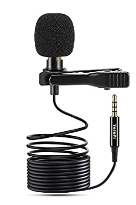 VoJoPi Clip on Microphone, Lavalier Lapel Microphone, Professional Omnidirectional Condenser Microphone for PC, Smartphone, Camera, Video Recording, Podcast, Conference