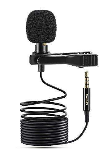 VoJoPi Microfono Solapa, Omnidireccional Lavalier Micrófono de Condensador, Microfono Movil para Podcast/Grabación Entrevista/Videoconferencia/Dicción de Voz/Movil