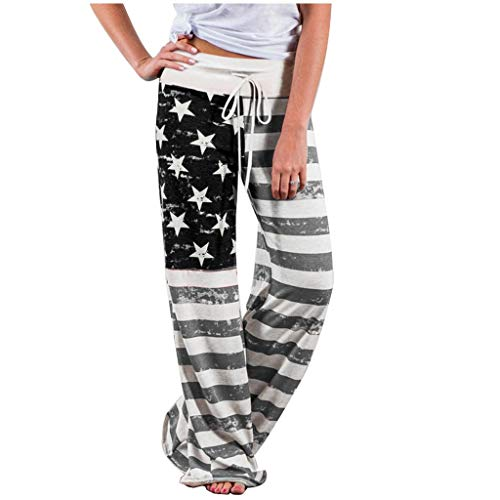 Shirt Luv Women American Flag Drawstring Wide Leg Pants Leggings Gray L Trousers for Women