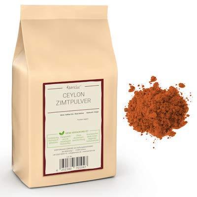 Kamelur 1kg echtes Ceylon Zimt Pulver - aromatisches Ceylon Zimtpulver, Cumarin-Gehalt max. 0,01%, ohne Zusätze - in biologisch abbaubarer Verpackung