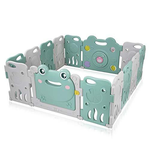 Baby Vivo Laufgitter Laufstall Baby Absperrgitter Krabbelgitter Schutzgitter für Kinder aus Kunststoff mit Tür und Spielzeug - Fridolin