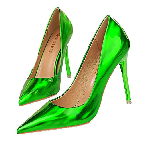 Zapatos de tacón para Mujer, Zapatos de Charol a la Moda, Tacones Altos de cuña, Zapatos de Fiesta de Boda, Zapatos de Boca Baja, Punta Puntiaguda