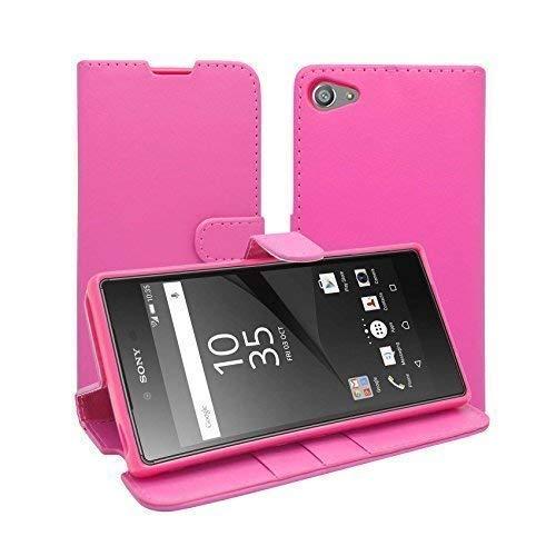 Kompatibel mit Sony Xperia Z5 Compact Rosa Einfarbig Etui und Displayschutz von Gadget Boxx