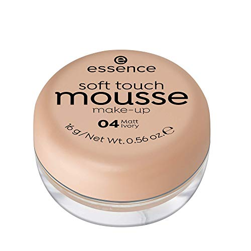 essence soft touch mousse make-up, Make Up, Foundation, Nr. 04 matt ivory, nude, für Mischhaut, für unreine Haut, mattierend, matt, vegan, ohne Parfüm, ohne Alkohol (16g)