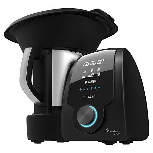 Cecotec Robot de Cocina Multifunción Mambo 9590, Cuchara MamboMix, Jarra Habana, 30 Funciones, Báscula incorporada, Jarra de Acero Inox de 3,3L, Apta para Lavavajillas, Cestillo de Hervir, Recetario