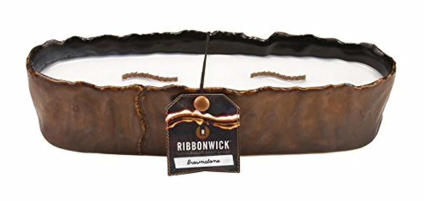 コテージ話うねる大きな長方形ブラウンストーンRibbonWick Scented Candle by WoodWick