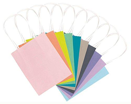 folia 21219/10 - Papiertüten aus Kraftpapier, Geschenktüten, 10 Stück, ca. 12 x 5,5 x 15 cm, farbig sortiert - zum Basteln, Verzieren und Verschenken