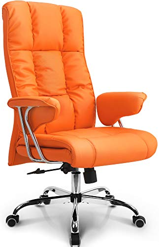 Neo Chair Office Chair Computer Desk Chair Gaming - Ergonomic High Back Cushion Lumbar Support with Wheels Comfortable Orange Upholstered Leather Racing Seat Adjustable Swivel Rolling Home Executive…