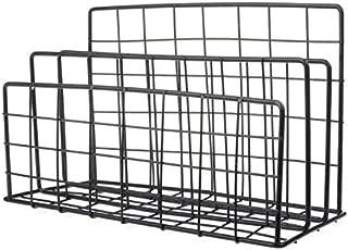 Yiherone Magazine Holder Grid Shaped Iron Desktop Storage Rack Bookshelf File Organizer Holder(Black) New (Color : Black)