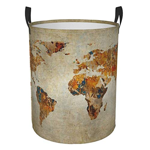 Foldable Laundry Hamper Antique Earth Map Dirty Clothes Round Laundry Basket Waterproof Toys Clothes Storage Organizer Washing Bin Durable Handbag For Bathroom Bedroom
