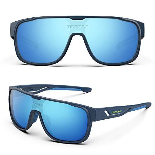 TOREGE Polarized Sports Sunglasses For Man Women Cycling Running Fishing Golf TR90 Unbreakable Frame TR13 Racer (Matte Purple&Purple&Blue Lens)
