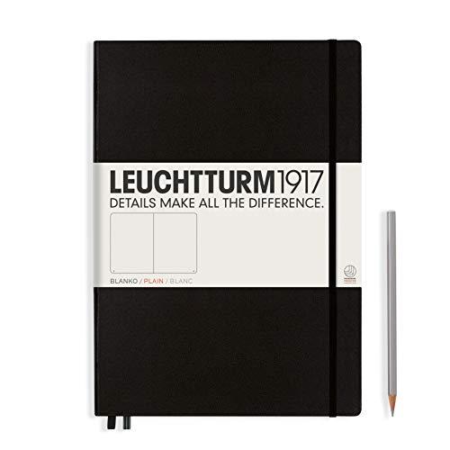 LEUCHTTURM1917 308227 Libreta de notas Master Classic (A4+) tapas duras, 235 páginas numeradas, negro, lisa