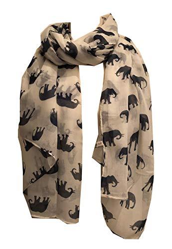 Pamper Yourself Now Damen Schal Elefant Animal Print Geschenk, Damen, Off-White mit Navy, 100cm X 185cm