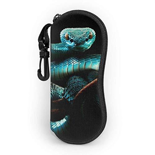 Funda suave para gafas de sol de serpiente azul para mujeres y hombres, ultraligera y portátil, con mosquetón.
