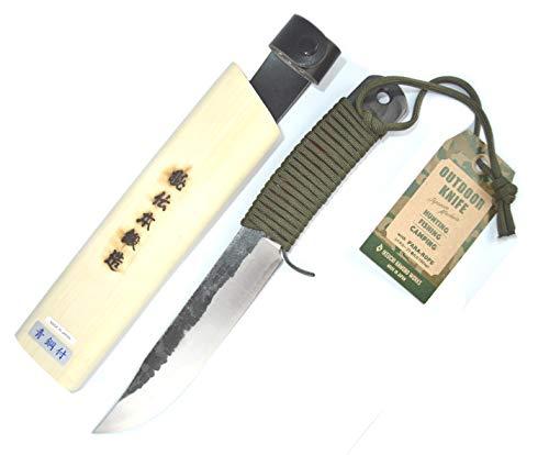 Ikeuti Japanisches Jagdmesser Handgeschmiedetes Japanisches Blaustahl Outdoor Camping