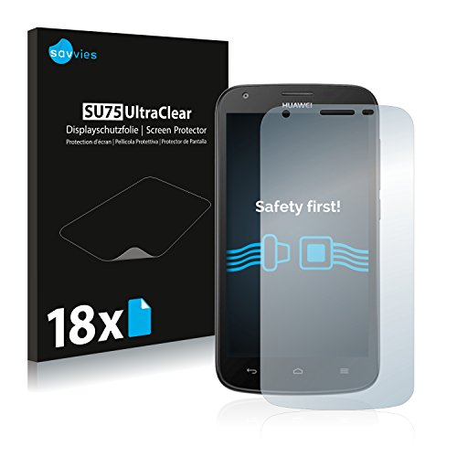 Savvies 18x Schutzfolie kompatibel mit Huawei Ascend Y600 Bildschirmschutz-Folie Ultra-transparent